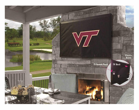 Virginia Tech Hokies Black Breathable Water Resistant Vinyl TV Cover