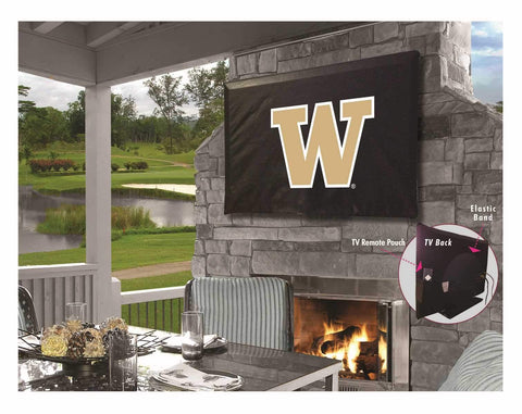Washington Huskies Black Breathable Water Resistant Vinyl TV Cover