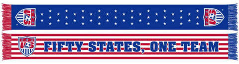 "Shop USA Soccer Ruffneck Stars Stripes 50 States, One Team Knit Acrylic Scarf 7""x60"""