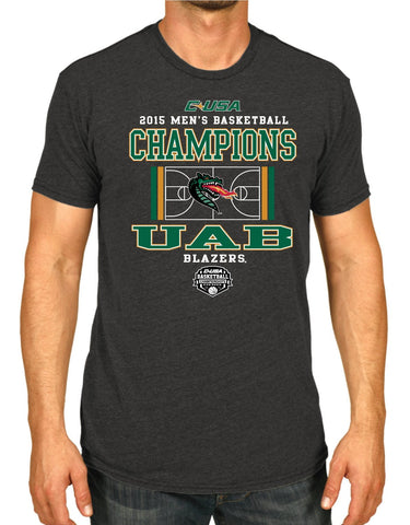 Shop UAB Blazers 2015 Conf USA Tournament Champions Locker Room Charcoal Gray T-Shirt - Sporting Up