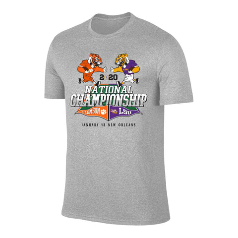 LSU vs Clemson 2019-2020 CFP National Championship Game Dueling Gray T-Shirt - Sporting Up