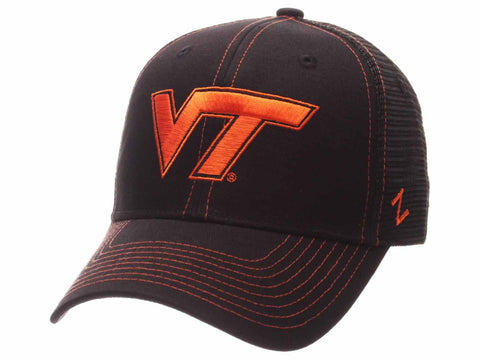 Virginia Tech Hokies Zephyr Black Mesh Blackout Trucker Adjustable Snap Hat Cap