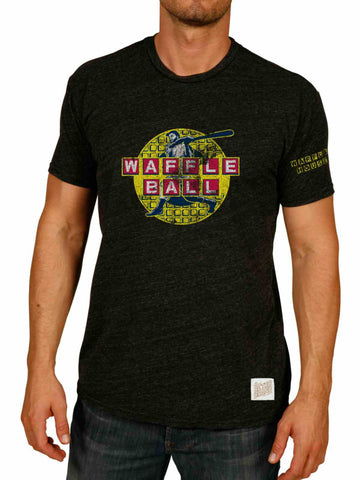 Shop Waffle Ball Waffle House Baseball Retro Brand Atlanta Braves Black T-Shirt - Sporting Up