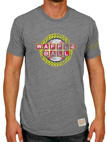 Shop Waffle House Waffle Ball Baseball Retro Brand Atlanta Braves Grey T-Shirt