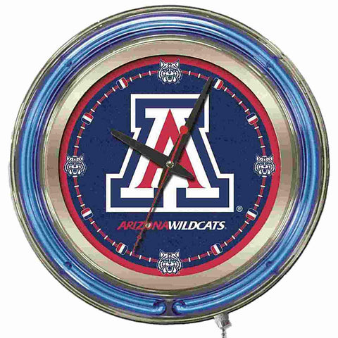 "Arizona Wildcats HBS Neon Blue Navy College Battery Powered Wall Clock (15"")"