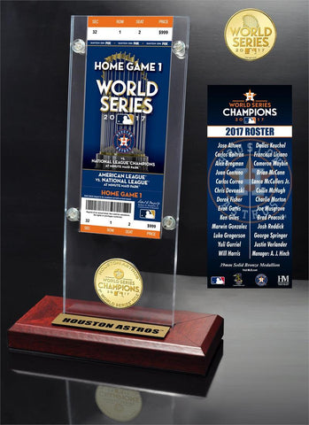 Houston Astros World Series Champions Ticket & Bronze Coin Acrylic Plaque