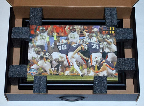 "Shop Auburn Tigers 2010 Nat'l Champs ""The Kick"" Black Framed 10"" X 15"" Canvas"