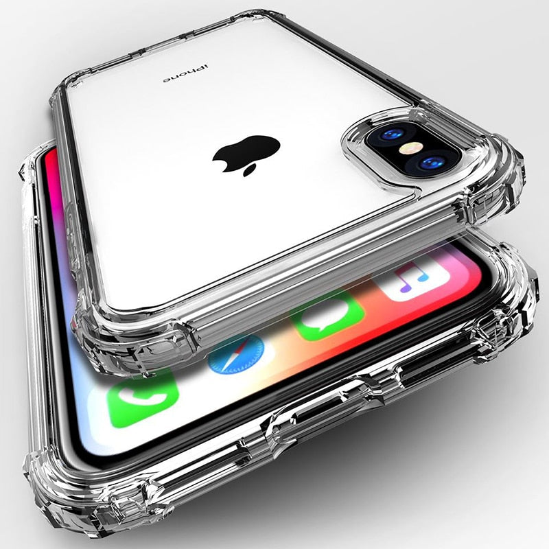 Shockproof Transparent Silicone Phone Case For iPhone Clear protection Back Cover