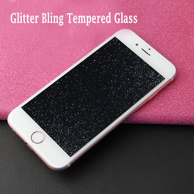 Tempered Glass Screen Protector For iPhone glass protective Diamond Glitter Shiny