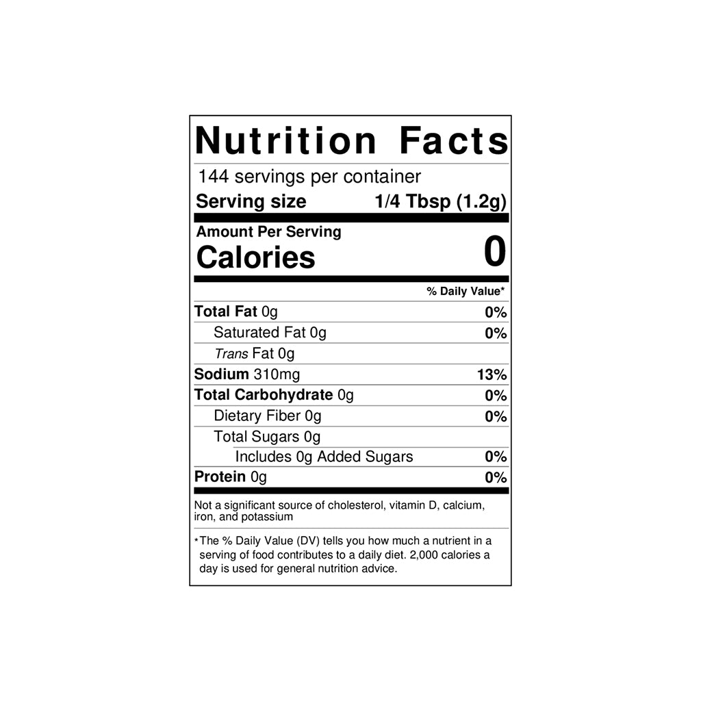 A nutrition label for Toomey's Seasoning.