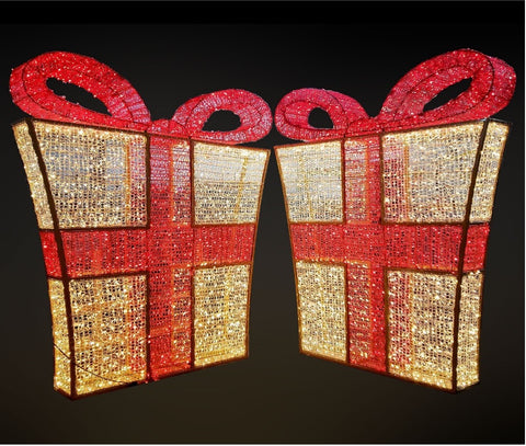 giant lit up gift box that looks like a Christmas present