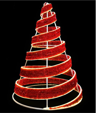 red spiral Christmas tree for malls and cities for the holiday christmas traffic