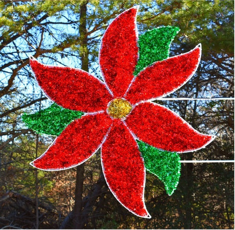 red and green poinsettia pole mount christmas decoration
