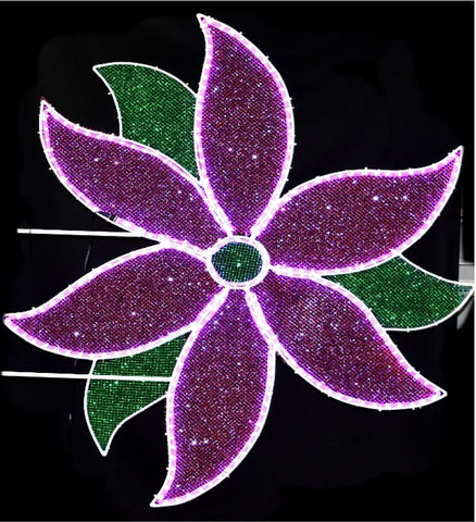 Purple and green Poinsettia pole mount christmas decoration