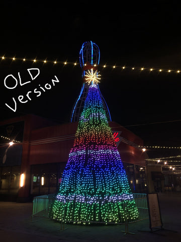 Image of commercial animated christmas tree with pixel light show