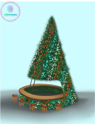 Image of Giant Christmas Tree for commercial buildings with a tiki bar built in