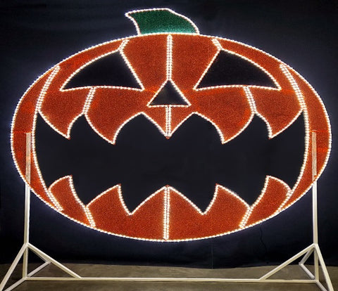 Giant pumpkin selfie stations kid friendly commercial halloween decoration