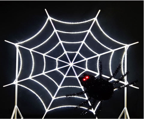 8 foot tall spider web and 3 foot spider halloween decoration image