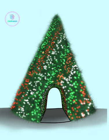 Concept artwork of a giant commercial Christmas tree that has animated pixel lights and a tunnel to walk through the tree