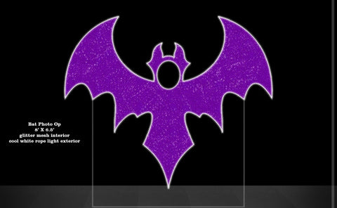 Image of kid friendly commercial halloween photo stand in decor purple bat
