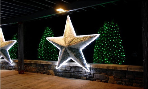 7 foot silver Christmas star outdoors on a commercial property