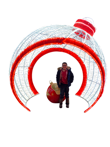 Life size giant walk through Christmas ornament for front yard and mall displays