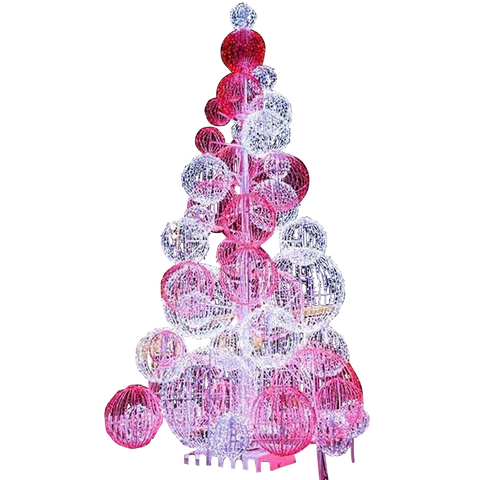 Image of Red and Cool white sphere tree to impress shoppers