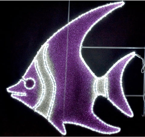 purple and white angel fish decoration hanging pole mount