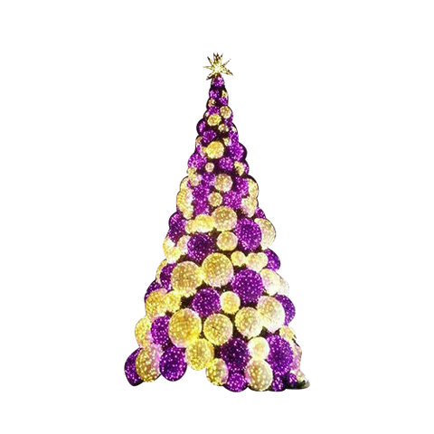 Warm white and purple sphere tree for photo ops and social media buzz