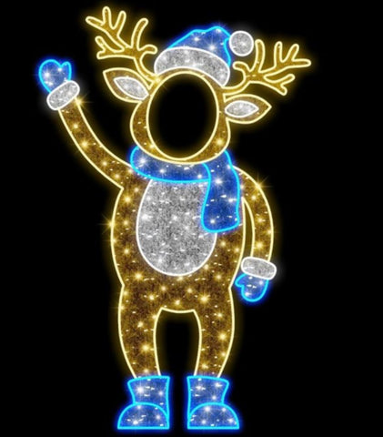 Reindeer with blue scarf waving with a facehole cut out for photo stand in
