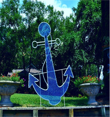 blue nautical anchor decoration for tropical areas