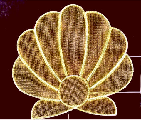 golden brown clam shell decoration for cities and towns and malls with a tropical vibe