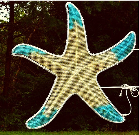 blue and white star fish hanging decor for poles