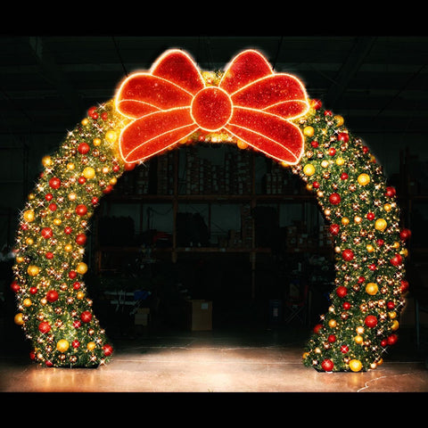walk through giant holiday christmas wreath made in america for sale