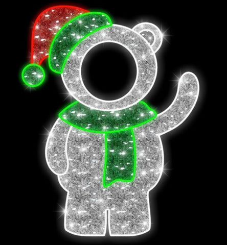 Image of 5 foot high Polar bear wearing an elf hat and waving with face hole cut out to take pictures in