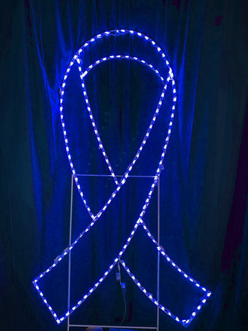 7 foot tall blue awareness ribbon light up decoration