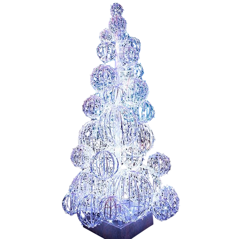 Cool white unique Christmas tree for commercial properties with spheres making the shape of a traditional tree