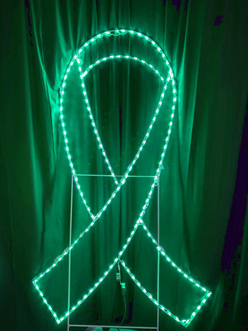 7 foot tall green awareness ribbon light up decoration