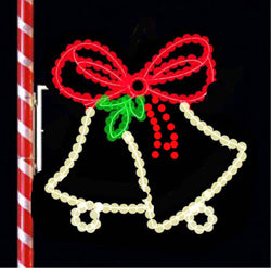 Image of two bells with ribbon 4 foot tall for decorating city lamp poles