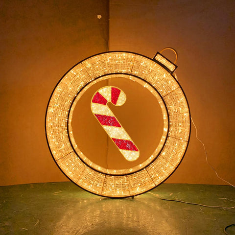 Hanging shopping mall holiday decoration with candy cane