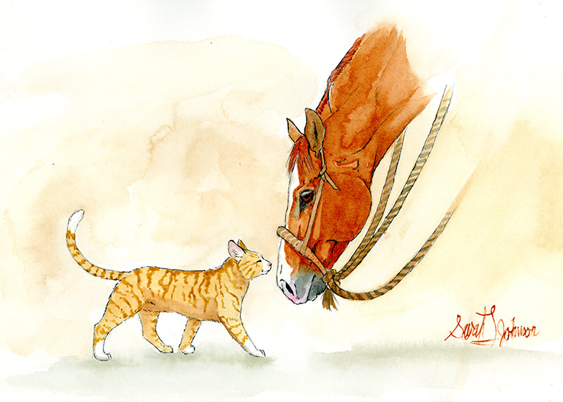 Gift Card by Sarah Johnson: Horse and Cat