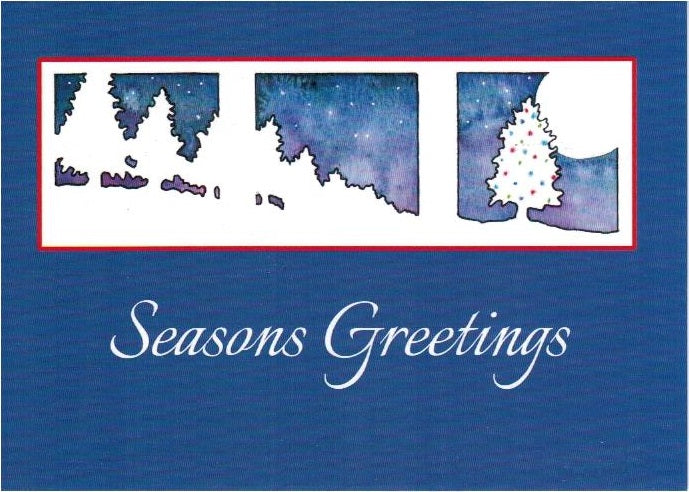 Christmas Gift Card: Simple Blue Seasons Greetings