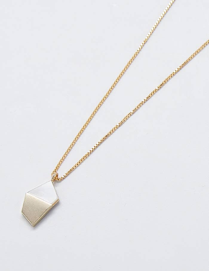 Gold Mother of Pearl Pendant Necklace
