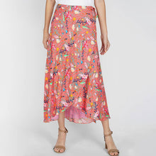Load image into Gallery viewer, Coral Midi Wrap Skirt (Medium)