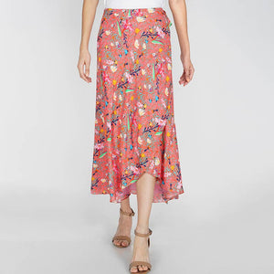 Coral Midi Wrap Skirt (Medium)