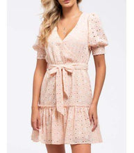 Load image into Gallery viewer, Peach Eyelet Dress