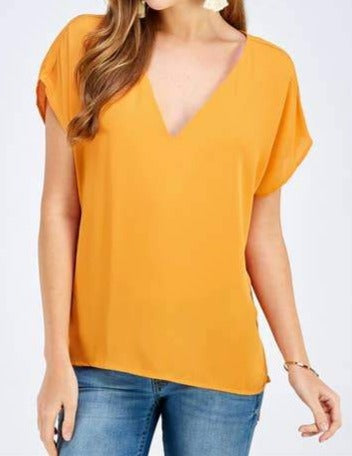 Yellow V-Neck Blouse