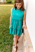 Load image into Gallery viewer, Embroidered Teal Sleeveless Dress (1 XS & 1 L)