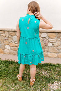 Embroidered Teal Sleeveless Dress (1 XS & 1 L)