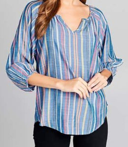 Blue Striped 3/4 Blouse